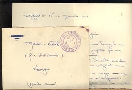 Militaria Document Militaire Courrier Enveloppe Marine Nationale Service De La Mer Navire Dragueur GIRUNDIA II YCF 1939 - Documents