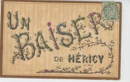 """HERICY - Jolie Carte Fantaisie Avec Paillettes """"Un Baiser De HÉRICY """" - France"""