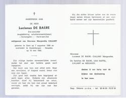 DOODSPRENTJE DE BAERE CALLANT ERE-VOORZITTER DUINENGALM HEIST AAN ZEE ° GENT 1900 + DESTELBERGEN-HEUSDEN 1982 - Images Religieuses