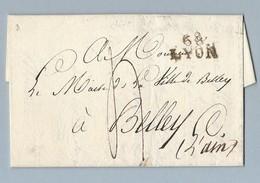 Lettre Avec Correspondance De Lyon Vers Belley Du 16 Juin 1818 - Postmark Collection (Covers)