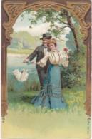 Carte Gauffrée Couple - Cygne- Dorures Sur Costume Et Robe (lot Pat 48) - Paare