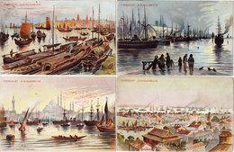 Chocolat D' AIGUEBELLE - 4 CPA - Constantinople, Yokohama, Amsterdam, Tien-Sin (Chine)ï - Peniches - Bateaux   (111601) - Pubblicitari
