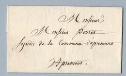Lettre Avec Correspondance Adressée Au Syndic Commune D' Apremons 26 Octobre 1849 - 1849-1876: Classic Period