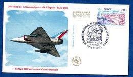 Enveloppe Premier Jour  / 34 ème Salon De L'Aéronautique Et De L'Espace / Mirage 2000 Dassault / Le Bourget / 6-6-81 - FDC