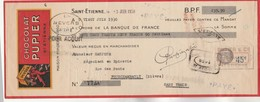 Lettre Change Illustrée 5/6/1930 Chocolat PUPIER ST ETIENNE Loire - Gaujour Fourchambault Nièvre - Lettres De Change