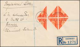 Kanalinseln - Guernsey I Halbierung 6mal Mit ZF R-Brief 17.2.41, Geprüft Möhle - Besetzungen 1938-45