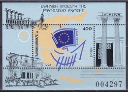 Griechenland Greece 1993 Organisationen Europäische Union EU Vorsitz Bauwerke Buidings Fahnen Flaggen Flags, Bl. 11 ** - Ungebraucht