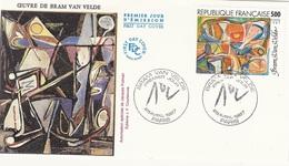 "FDC - France Env. 1er Jour ""oeuvre De Bram Van Velde"" 25 Avril 1987 Paris - Timbre 2473 - 1980-1989"