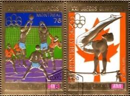 Volleyball 1976 Äquator.Guinea 875/6 Aus Block 227 O 7€ Olympic Montreal Hb Olympics Gold Se-tenant Bf Ecuat.Guinee - Guinée Equatoriale