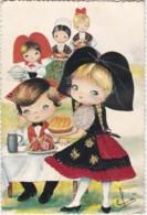 Carte Brodée -  - Alsace - Choucroute - Kouglof - Illustrée Par Elsi  (lot Pat 48) - Embroidered