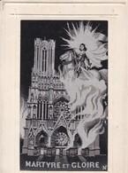 51 / REIMS / RARE CARTE TISSEE SOIE / JEANNE D ARC / MARTYRE ET GLOIRE - Reims
