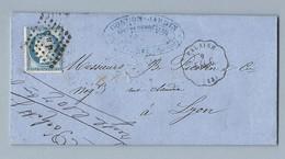 Cérès 60C Sur Convoyeur Station De Falaise Vers Lyon 9/8/1875 - Postmark Collection (Covers)