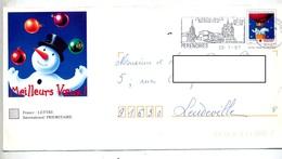 Pap Croix Rouge  Flamme Perenches Jumelage Overath Illustré Bonhomme De Neige - Postal Stamped Stationery