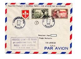 Lettre Premier Vol Air France Paris Los Angeles - Airplanes
