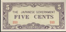 Billet Five Cents Birmanie - 1942 Occupation Japonaise SUP - Banknotes