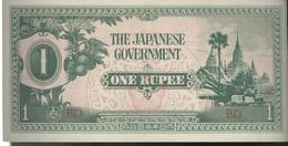 Billet 1 Ruppe ( 1 Roupie ) Birmanie - 1942 Occupation Japonaise SUP - Billets