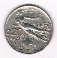 20 CENTESIMI  1922 R ITALIE /0912/ - 1861-1946 : Royaume