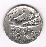 20 CENTESIMI  1909 R ITALIE /0913/ - 1861-1946 : Royaume