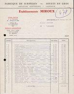 FACTURE ETS MIROUX - FABRIQUE DE SURPRISES ET JOUETS EN GROS - ARNAY LE DUC - 27 NOVEMBRE 1968 - 1950 - ...