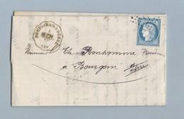 Cérès 60C Sur Convoyeur Station De Dompierre-s-Bebre 8/12/1875 Vers Bourgoin - Postmark Collection (Covers)