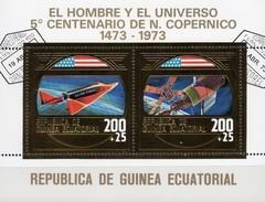 Raumfähre Skylab 1973 Äquator.Guinea Block 71 O 8€ Copernicus Hb Ms Sheet Gold Space Se-tenant Ss Bf Ecuator.Guinee - Guinée Equatoriale