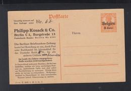 Dt. Reich Besetzung Belgien GSK Vordruck Kosack - Occupation 1914-18