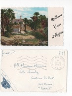 MEILLEURS VOEUX D'ALGERIE - PTE CARTE COULEUR AVEC ENVELOPPE  10.50 X 6.5    - VOYAGEE EN 1961 FRANCHISE MILITAIRE - Nouvel An