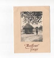 MEILLEURS VOEUX  - CARTE PHOTO N/B DANS POCHETTE - PAYSAGE D'AFRIQUE ?  - VOYAGEE EN 1955 - New Year