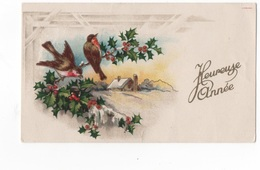 HEUREUSE ANNEE  - PTE CARTE COULEUR 10.8X6.5 - PAYSAGE ET OISEAUX POSES SUR BRANCHE DE HOUE  - VOYAGEE EN 1946 - New Year