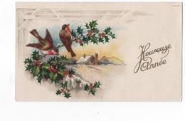 HEUREUSE ANNEE  - PTE CARTE COULEUR 10.8X6.5 - PAYSAGE ET OISEAUX POSES SUR BRANCHE DE HOU  - VOYAGEE EN 1946 - Nouvel An
