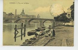 CORBEIL - Vue Sur La Seine (belle Carte Toilée Avec Lavandières ) - Corbeil Essonnes
