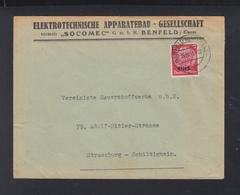 Dt. Reich Elsass Brief 1941 Benfeld Nach Strassburg - Occupation 1938-45