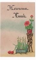 HEUREUSE ANNEE  - PTE CARTE COULEUR 9.5 X 6 - POTS DE FLEURS ET TABOURET  - VOYAGEE EN 1946 - Nouvel An