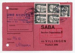 - POSTKARTE BAD SCHWARTAU Pour VILLINGEN (Allemagne) 27.1.1972 - A ETUDIER - - Covers & Documents