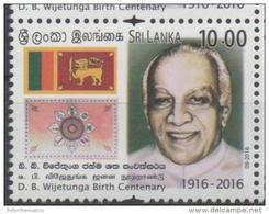 SRI LANKA, 2016, MNHD.J. WIJETUNGA BIRTH CENTENARY, FLAGS, 1v - Stamps
