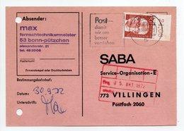 - POSTKARTE BONN Pour VILLINGEN (Allemagne) 3.10.1972 - A ETUDIER - - Covers & Documents