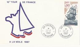 """FDC - France Env. 1er Jour """"10éme Tour De France à La Voile 1987 -22.07.1987- Tréboul 29 - Timbre 1862 Recto -2185 Verso - 1980-1989"""