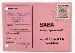 - POSTKARTE SOHREN Pour VILLINGEN (Allemagne) 14.7.1972 - A ETUDIER - - Lettres & Documents
