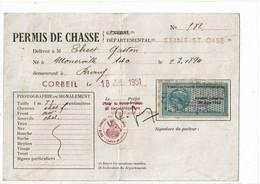 LBR41 - FISCAL POUR PERMIS DE CHASSE JUILLET 1951 - Postmark Collection (Covers)