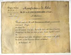De Pre Et Jn FEUILHERADE Et COMPe, Manufacture De Tabac à  BORDEAUX, Coupon D'action 1/4 De 10000 Francs 1799 - D - F