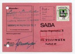 - POSTKARTE AUGSBURG Pour VILLINGEN (Allemagne) 20.4.1972 - A ETUDIER - - Lettres & Documents