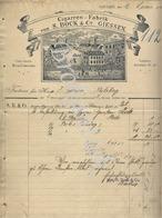 S.BOCK & C°  Cigarren-Fabrik    GIESSEN   Invoice To Herr GITTMER     PERLEBERG    18 Juni 1904 - Deutschland