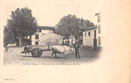 64 - Le Pays Basque - Place De Jeu De Paume Ascain - Beau Plan Sur Un Attelage De Boeufs - France
