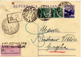 CARTOLINA POSTALE RACCOMANDATA £.8 - SPEDITA DA GRAGLIA (BI) A OCCHIEPPO INFERIORE (BI) IL 27.7.1948 - 6. 1946-.. Repubblica