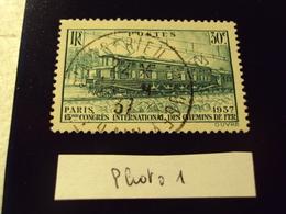 """1937  Timbre Oblitéré N° 339    """" Congrès Chemin De Fer 30c Vert      """"    Net 1.5  Photo  1 - Frankreich"""