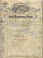 EMIL BRODTMANN In LEMGO    Lippische Tabakfabrik  Factura  Hr Ernst RABE In ASSHERSLEBEN  21 Ffebruari 1891 - Allemagne