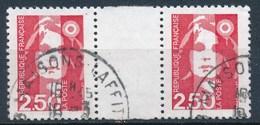 France -Marianne De Briat 2.50 Rouge YT 2715 Obl. (paire Horizontale + Interpanneau) - 1989-96 Marianne Du Bicentenaire