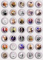 35 X Thomas Alva Edison BADGE BUTTON PIN SET 3 (1inch/25mm Diameter) - Celebrities