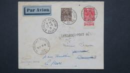 Lettre  Par Avion Vol Paris Cannes Du 17 Aout 1931 Affr. Type Femme Fachi Bande Pub. Puis Renvoyée Au Havre - Air Post