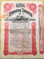 ARGENTINE TOBACCO C° Limited   10 Preference Shares Of  1£ Each 12 April 1912 - Actions & Titres